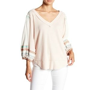 Free People Bubble Sleeve Thermal Tee Size Large